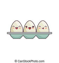 eggs container kawaii style isolated icon