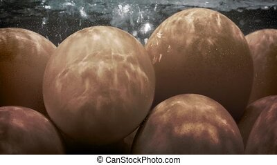 Eggs Cooking In Boiling Water