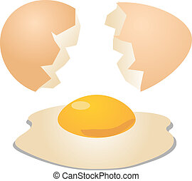 Eggs cracked open shell and egg with yolk illustration
