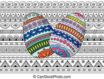 eggs decoration on the seamless pattern - Hand drawn colored...