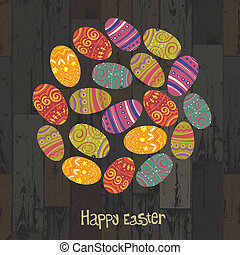 eggs., eps10, 形づくられた, 木製である, バックグラウンド。, ベクトル, 円, イースター, 板