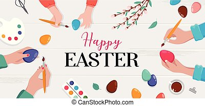 eggs., famiglia, easter., padre, -, scena, illustrazione, vettore, preparare, madre, felice, pittura, figlie, pasqua