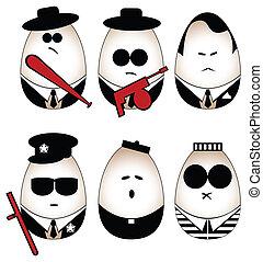 Eggs figure - Vector eggs figure (mafia, offender, policeman...