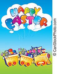 eggs., flores, trem, páscoa