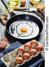 Eggs for breakfast fried on a pan