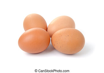 Eggs - Four eggs isolated on white background