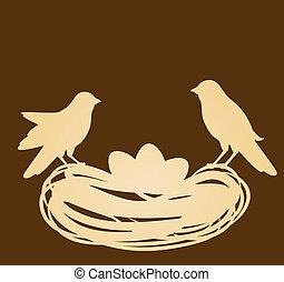 eggs., gniazdo, wielkanoc, ptaszki, wóz