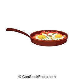 eggs., illustration, arrière-plan., vecteur, blanc, frit, moule