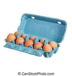 Eggs in a blue cardboard box