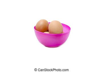 eggs in a purple bowl