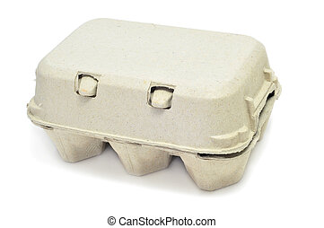 egg carton - eggs in an egg carton on a white background