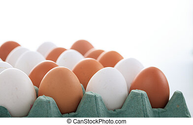 Eggs in an egg crate on white background