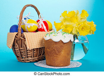 Eggs in basket, an Easter cake and vase - Eggs in basket, an...