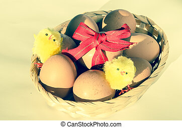 eggs in basket with ribbon and chicken