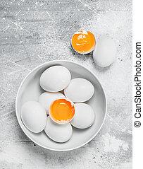 Eggs in bowl.