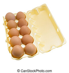 eggs in box isolated on white background