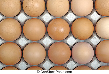 Eggs in cardboard package as background or backdrop.