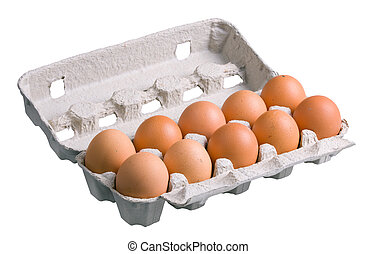 An open carton egg box with eggs