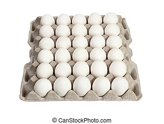 eggs in carton package on white background