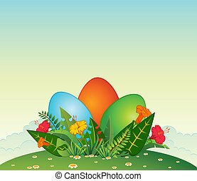 Eggs in flowers. Easter card