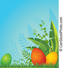 Eggs in grass. Easter card