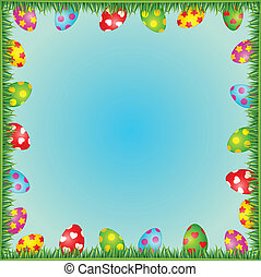 Eggs in grass. Easter vector card