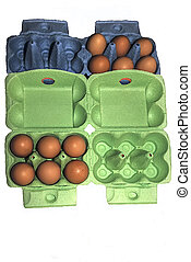 Eggs in green and blue packaging