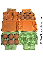 Eggs in orange and green packaging