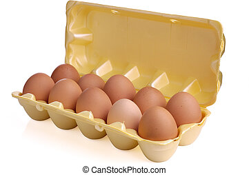 Eggs in packing from a cardboard on a white background.