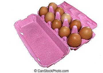 Eggs in pink packaging