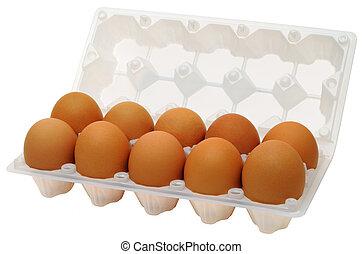 Eggs in plastic box - A dozen brown chicken eggs, the...