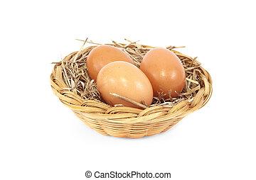 Eggs in rattan basket a healthy foo