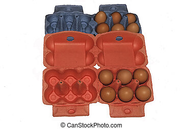Eggs in red and blue packaging