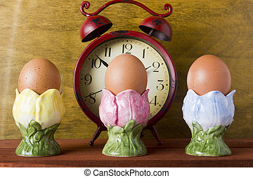 Eggs in the decorative ceramic stands