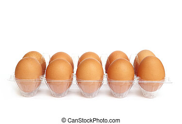 Eggs in the plastic package