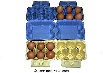 Eggs in yellow and blue packaging