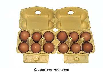 Eggs in yellow packaging