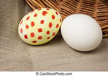 eggs on a burlap