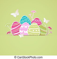 Eggs on a green background