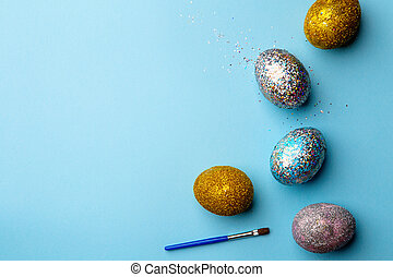 Eggs on blue background.