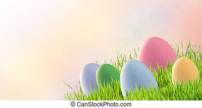 Eggs on easter holiday background