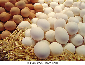 white and brown eggs on a bed of straw - closeup