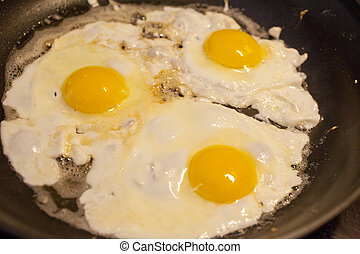 Eggs over easy - Eggs cooking in a frying pan