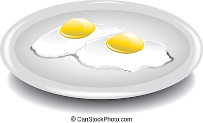 Eggs over easy - Illustration of two eggs over easy on a...