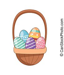 eggs painted easter in basket