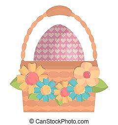 eggs painted in basket happy easter
