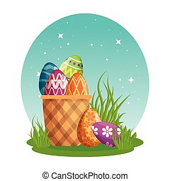 eggs painted with basket in meadow
