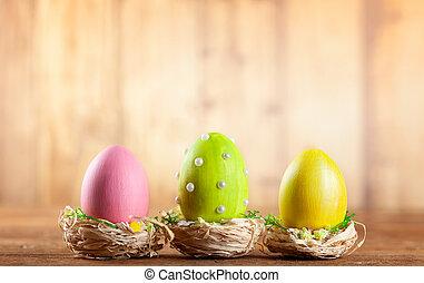 eggs., paques, composition, coloré