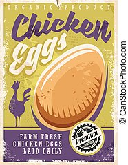 Eggs promotional poster design. Farm fresh chicken eggs...