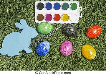 eggs., ręka, to jest, karta, malarstwo, królik, pędzel